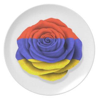 Armenian Rose Flag on White Plate