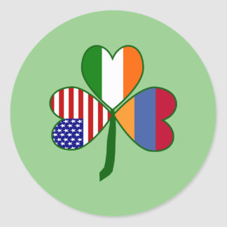 Armenian Shamrock Flag Classic Round Sticker