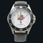 "Armenian Stainless Steel Black Leather Strap Watch<br><div class=""desc"">Armenian Revolutionary Federation Հայ Յեղափոխական Դաշնակցութիւն</div>"