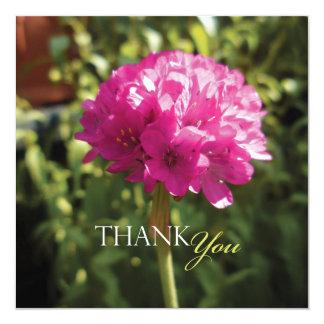 "Armeria Maritima Floral Thank You Square Card 5.25"" Square Invitation Card"