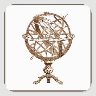Armillary Celestial Sphere Vintage Sepia Square Sticker