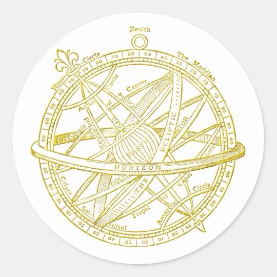 Armillary sphere classic round sticker
