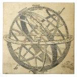 armillary sphere vintage steampunk illustration ceramic tile