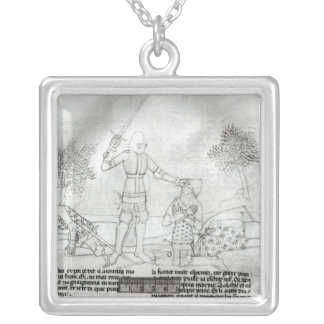 Arming a knight on a battlefield square pendant necklace