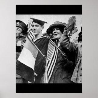 Armistice celebration.  Yanks and Tommie_War Image Poster