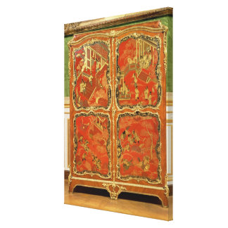 Armoire with four Chinoiserie red lacquer panels e Canvas Print