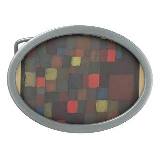 Armonía abstracta del color de Paul Klee- en cuadr Hebilla De Cinturón