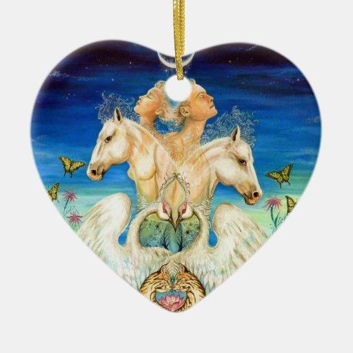 Armonía del amor adorno navideño de cerámica en forma de corazón