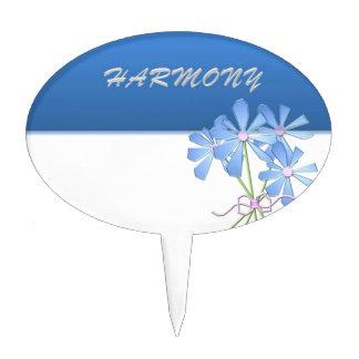 Armonía floral azul y de plata figuras de tarta