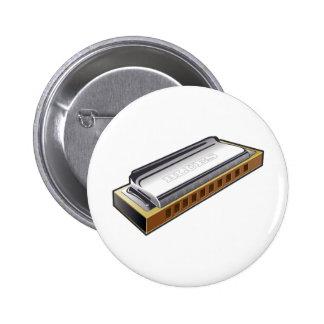 Armónica de los azules - botón pin redondo de 2 pulgadas