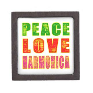 Armónica del amor de la paz cajas de recuerdo de calidad