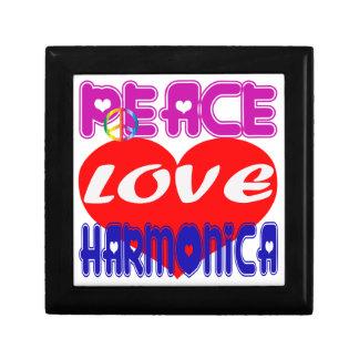 Armónica del amor de la paz caja de recuerdo