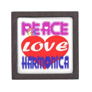 Armónica del amor de la paz cajas de joyas de calidad