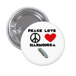Armónica del amor de la paz pin redondo de 1 pulgada