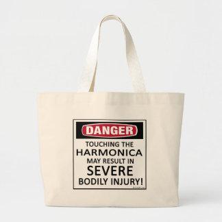 Armónica del peligro bolsa tela grande