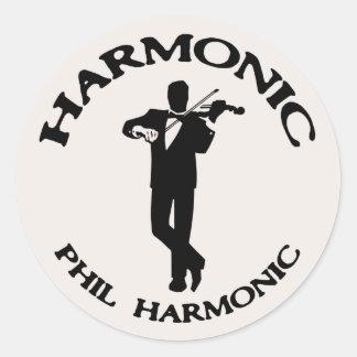 Armónico, armónico de Phil Pegatina Redonda