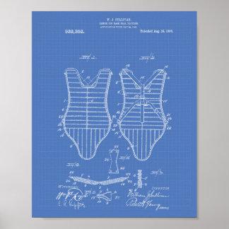 Armor Baseball Players 1909 Patent Art Blueprint Poster