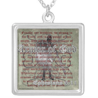 Armor of God, Ephesians 6:10-18, Christian Soldier Square Pendant Necklace