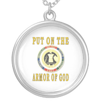ARMOR OF GOD ROUND PENDANT NECKLACE