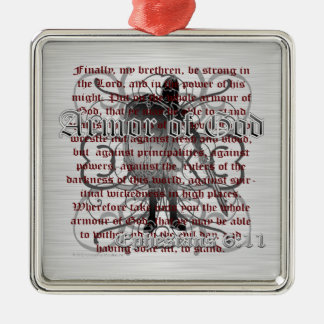 Armor of God Soldier Square Metal Christmas Ornament