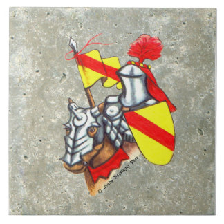 Armored Knight on Horseback Red Yellow Tile