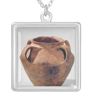 Armorican biconical jar with four handles silver plated necklace