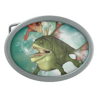 Armour fish oval belt buckle
