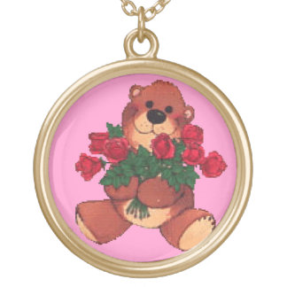 Arms Full of Roses Round Pendant Necklace