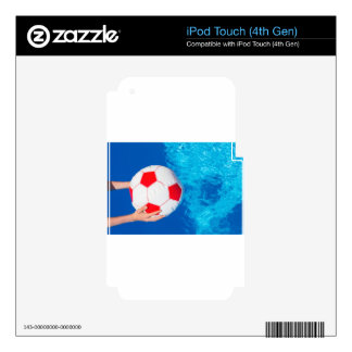 Arms holding beach ball above swimming pool water iPod touch 4G decal