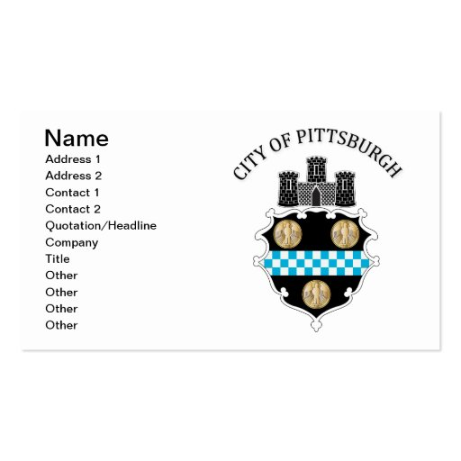 Arms of the city of Pittsburgh Business Card Templates