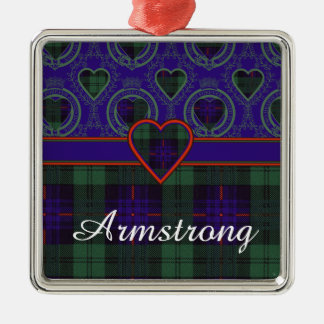 Armstrong clan Plaid Scottish tartan Square Metal Christmas Ornament