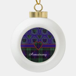 Armstrong clan Plaid Scottish tartan Ceramic Ball Christmas Ornament