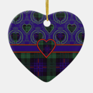 Armstrong clan Plaid Scottish tartan Double-Sided Heart Ceramic Christmas Ornament