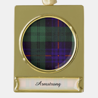 Armstrong clan Plaid Scottish tartan Gold Plated Banner Ornament