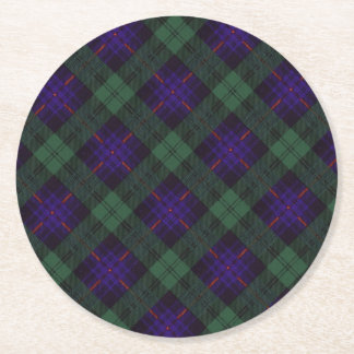 Armstrong clan Plaid Scottish tartan Round Paper Coaster