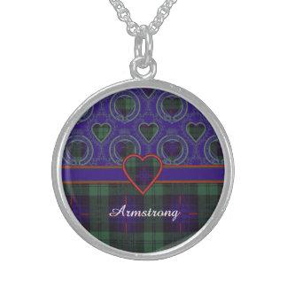 Armstrong clan Plaid Scottish tartan Round Pendant Necklace