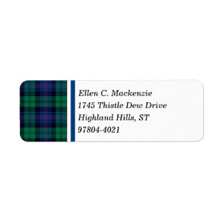 Armstrong Clan Royal Blue and Green Tartan Label