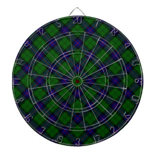 Armstrong clan tartan blue green plaid dartboard with darts