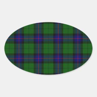 Armstrong clan tartan blue green plaid oval sticker