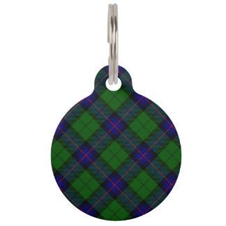 Armstrong clan tartan blue green plaid pet name tag