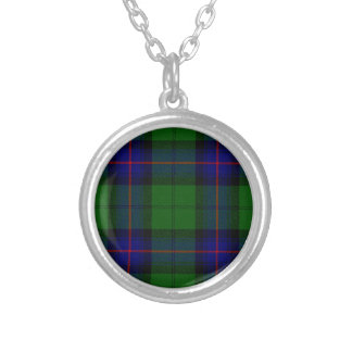 Armstrong clan tartan blue green plaid silver plated necklace