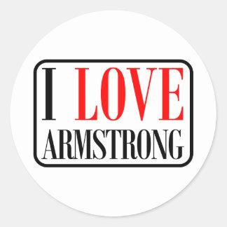 Armstrong, diseño de la ciudad de Alabama Pegatina Redonda
