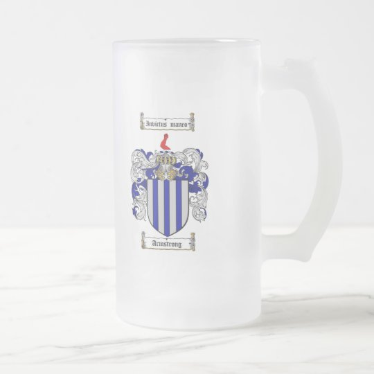 ARMSTRONG FAMILY CREST -  ARMSTRONG COAT OF ARMS FROSTED GLASS BEER MUG