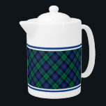 "Armstrong Family Tartan Royal Blue and Green Plaid Teapot<br><div class=""desc"">Teapot with the Armstrong clan tartan pattern. Traditional vintage Scottish plaid from 1842 in shades of green and blue with black and red accents. Matching mugs and tea cups available.</div>"