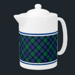 """Armstrong Family Tartan Royal Blue and Green Plaid Teapot<br><div class=""""desc"""">Teapot with the Armstrong clan tartan pattern. Traditional vintage Scottish plaid from 1842 in shades of green and blue with black and red accents. Matching mugs and tea cups available.</div>"""