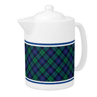 Armstrong Family Tartan Royal Blue And Green Plaid Teapot at Zazzle