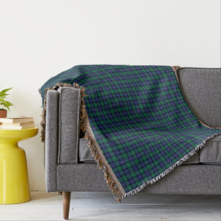 Armstrong Family Tartan Royal Blue and Green Plaid Throw