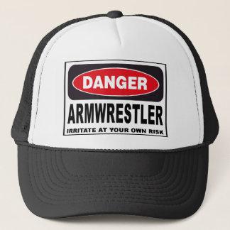 Armwrestler Danger Sign Trucker Hat