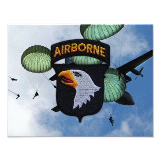 """army 101st airborne screaming eagles patch 4.25"""" x 5.5"""" invitation card"""