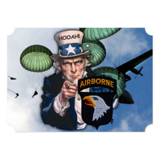 """army 101st airborne veterans vets patch 5"""" x 7"""" invitation card"""